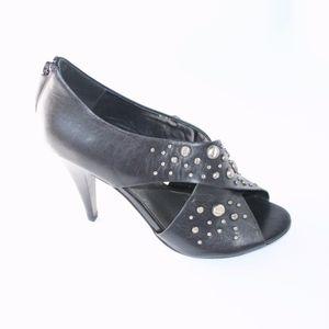 Fergie Justice Black Studded Open Toed Heels